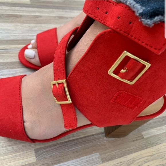 Delicious Shoes - Red Stappy Sandals